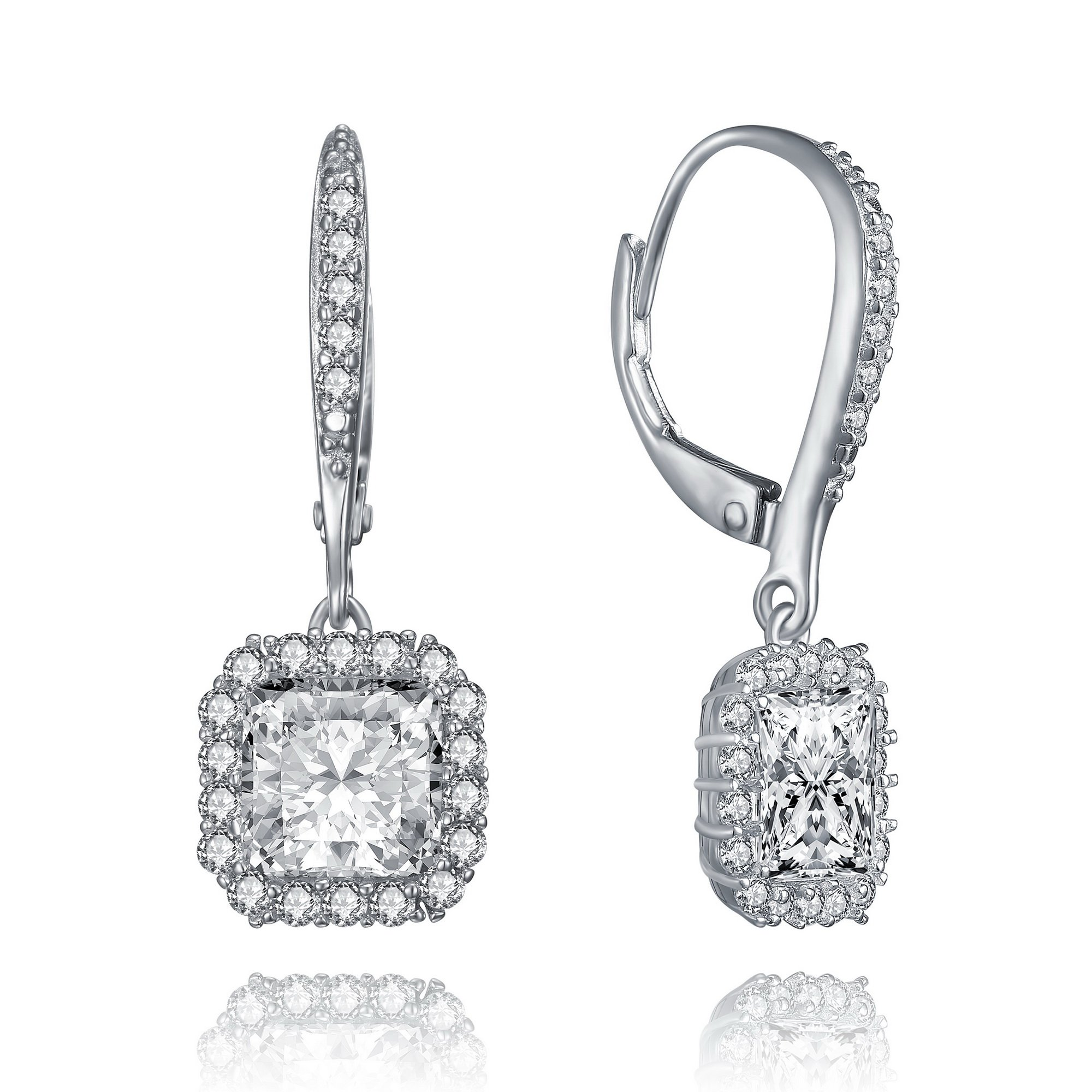 Lux and Glam-Romantic Cubic Zirconia Fine Heart Shape Drop Style Earrings Surrounded with Smaller Stones,Set in Rhodium Plated Sterling Silver (Square Shape)