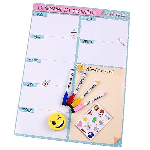 Planificador Semanal Magnético, 4 Rotuladores de Colores, 12 ...
