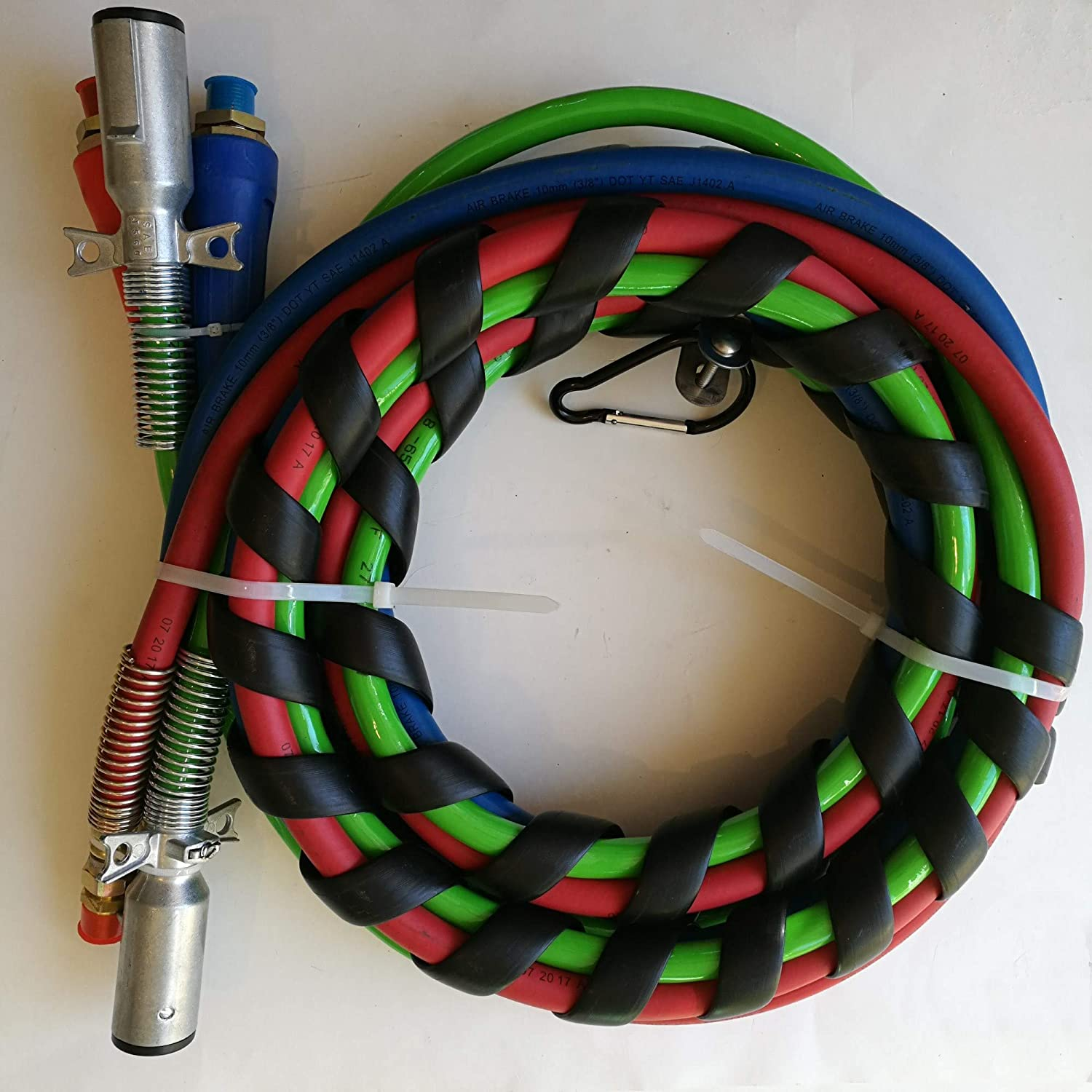 RED /& BLUE Air Hoses 15 ft 3-in-1 ABS Electrical /& Air Hose Assemblies