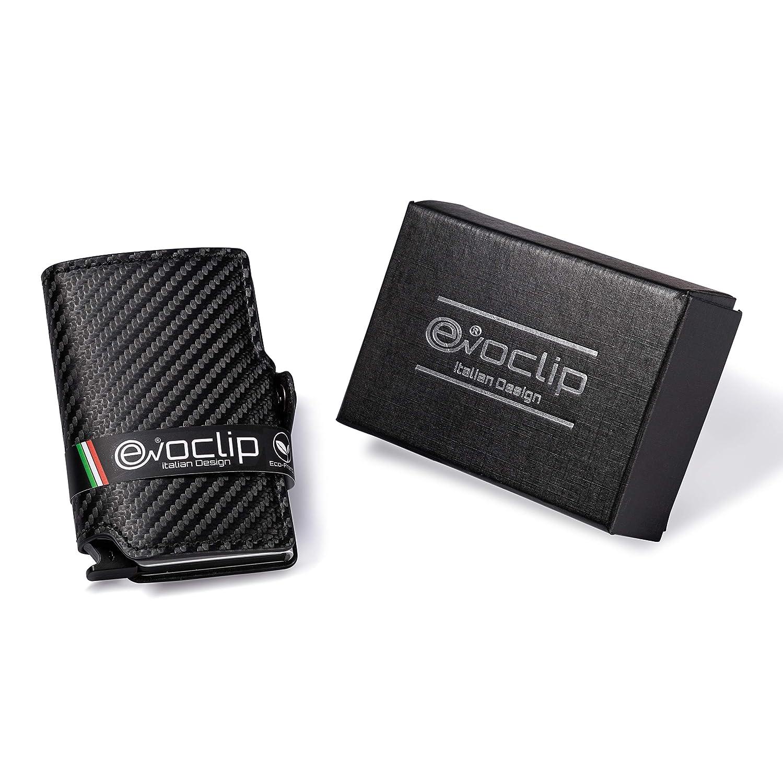 fe503e47b9 EvoClip Design in Carbon Fiber Porta Carte di Credito - Blocco RFID/NFC  Mini Portafoglio Uomo Clip Wallet Porta carte di credito e portaBanconote  Eco Pelle ...