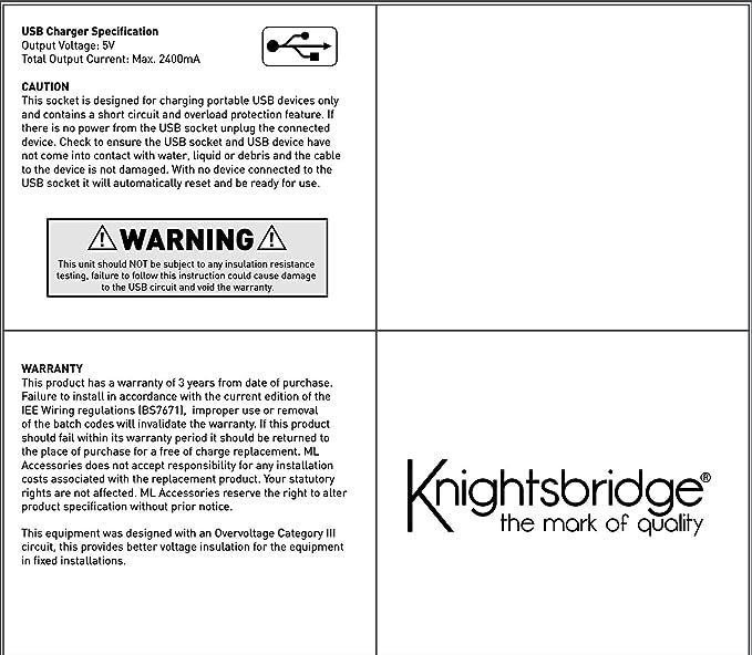 Knightsbridge SF6000MB 13A Fundido Sin Tornillos Espuela Unidad de Placa de pared-Negro Mate