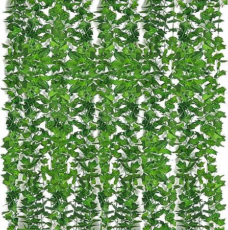 Yidaxing Plantas Hiedra Artificial Decoración Interior y Exterior 84ft-12 Guirnalda Hiedra Artificial De Hogar Boda Jardín Valla Escalera Ventana para Decoración(12pcsx2.2m): Amazon.es: Hogar