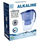 WAMERY Alkaline Water Pitcher 1.5 Liters, Slim Model, Free Filter Included, Improves pH, Removes Lead, Chlorine, Copper and M