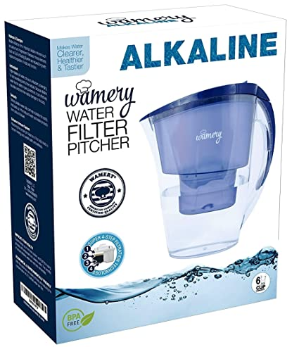 Wamery Jarra con Filtro de Agua alcalina ionizada 1.5 litro Aumenta el Nivel del ph del