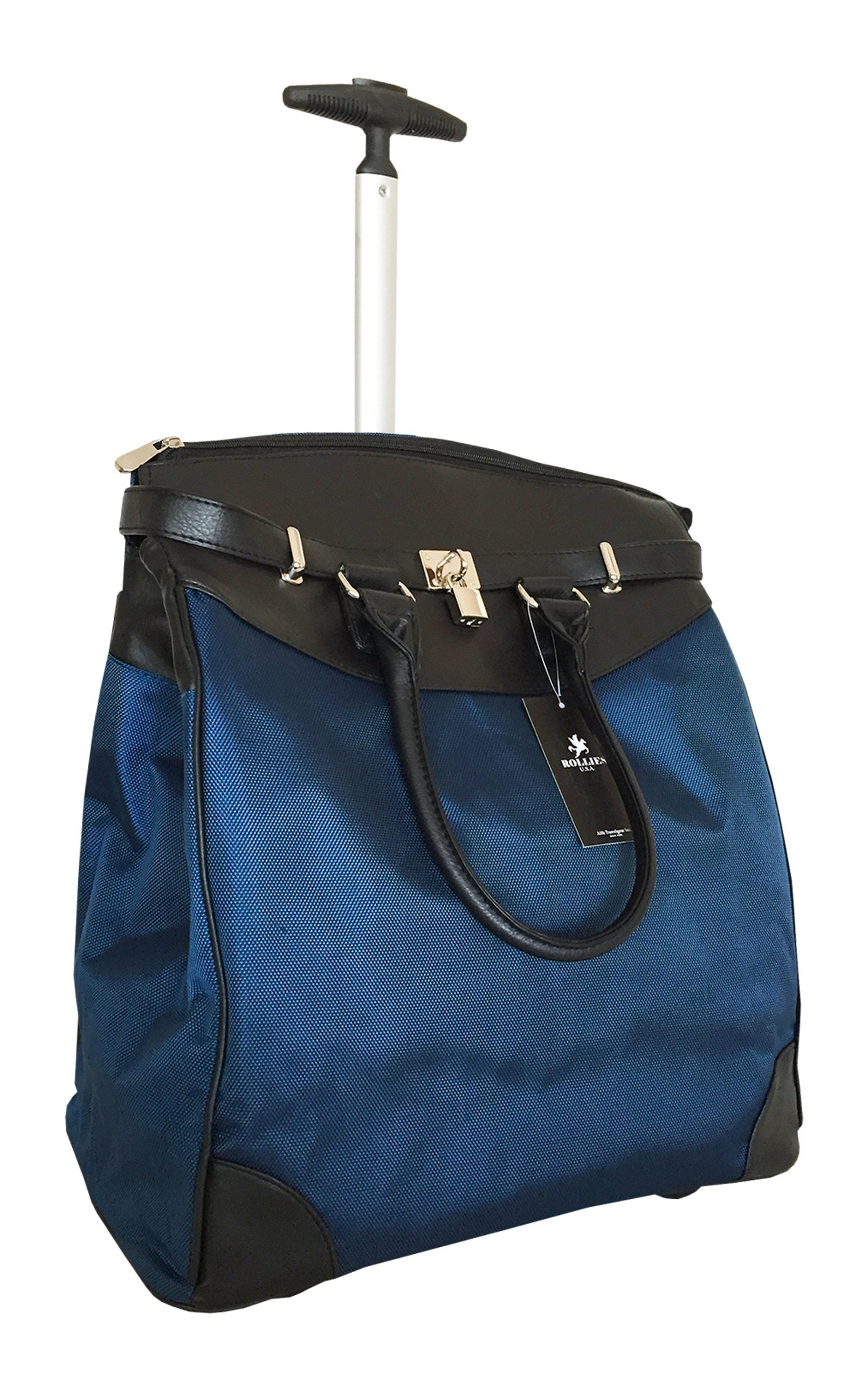 Trendy Flyer Computer/Laptop Rolling Bag 2 Wheel Case Plain Blue