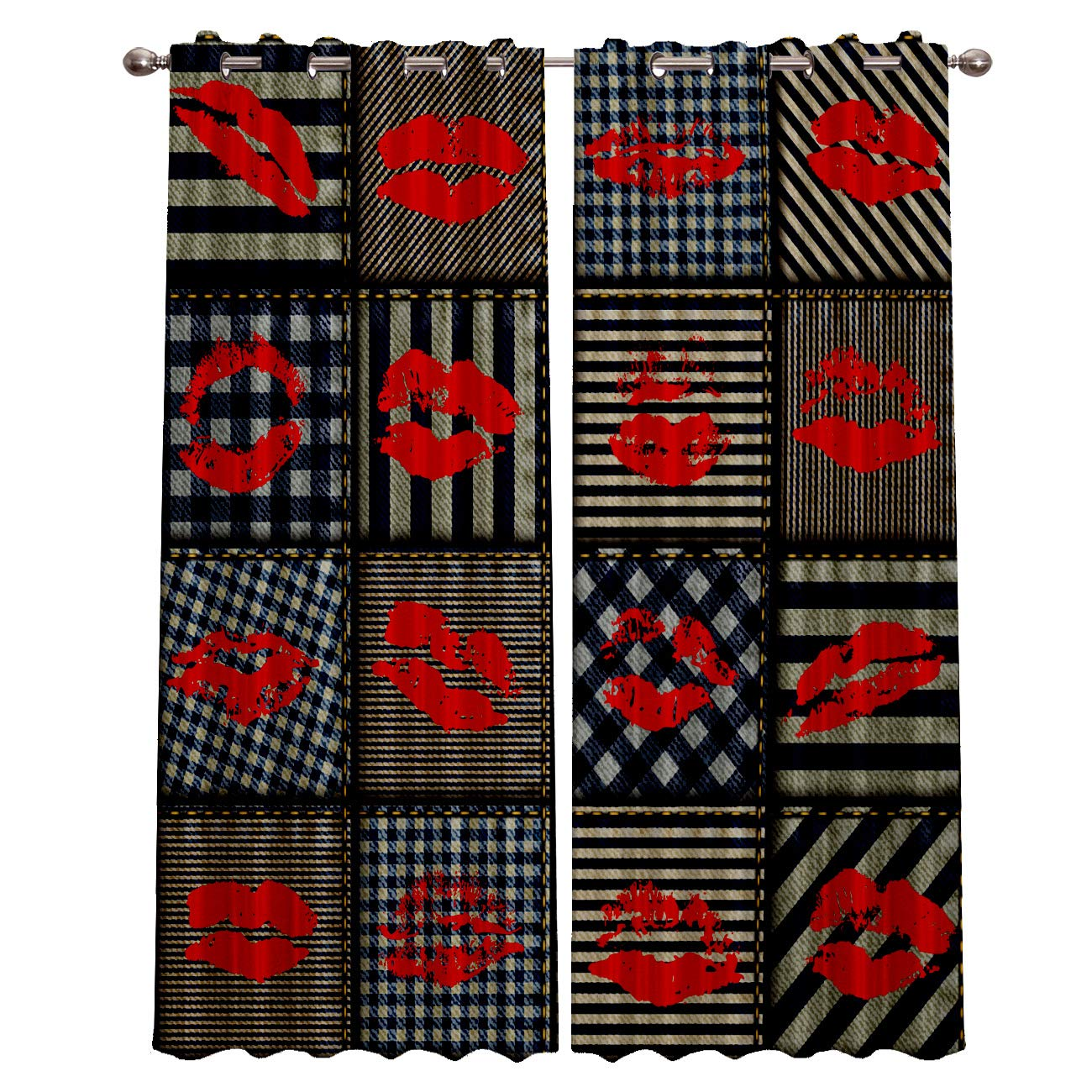 2 Panels, 27.5 x 39 Inch Each Panel Blackout Grommet Curtains for Living Room Arab Traditional Floral Pattern Home Decor Treatment Thermal Darkening Drapes Window Curtains for Bedroom