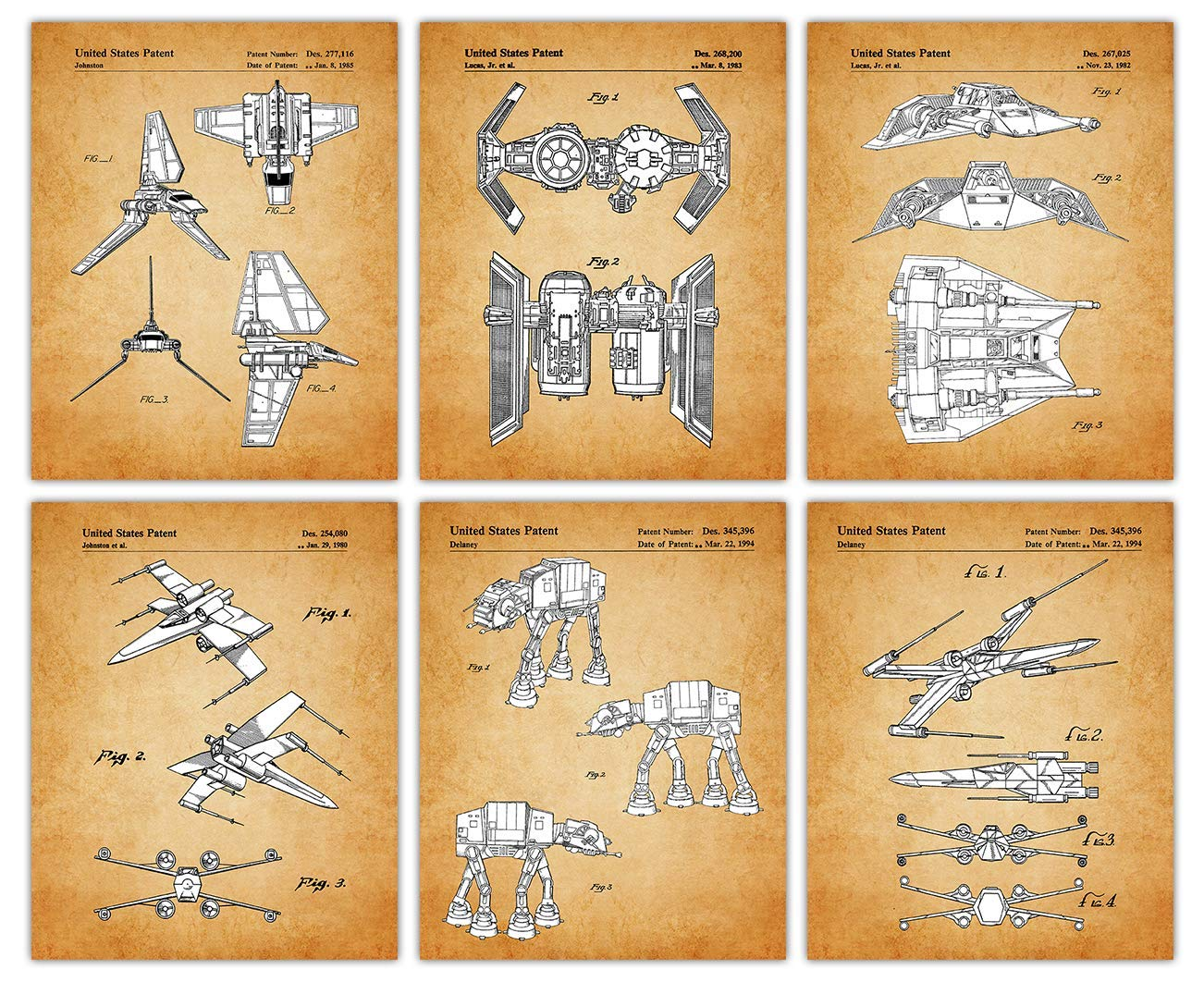Vintage Star Wars Patent Poster Prints – Set of 6 Unframed 8x10 Photos - Unique Wall Art for Home, Room & Office Decor - Great Gift Idea Under $25 for Men, Women & Movies Fans