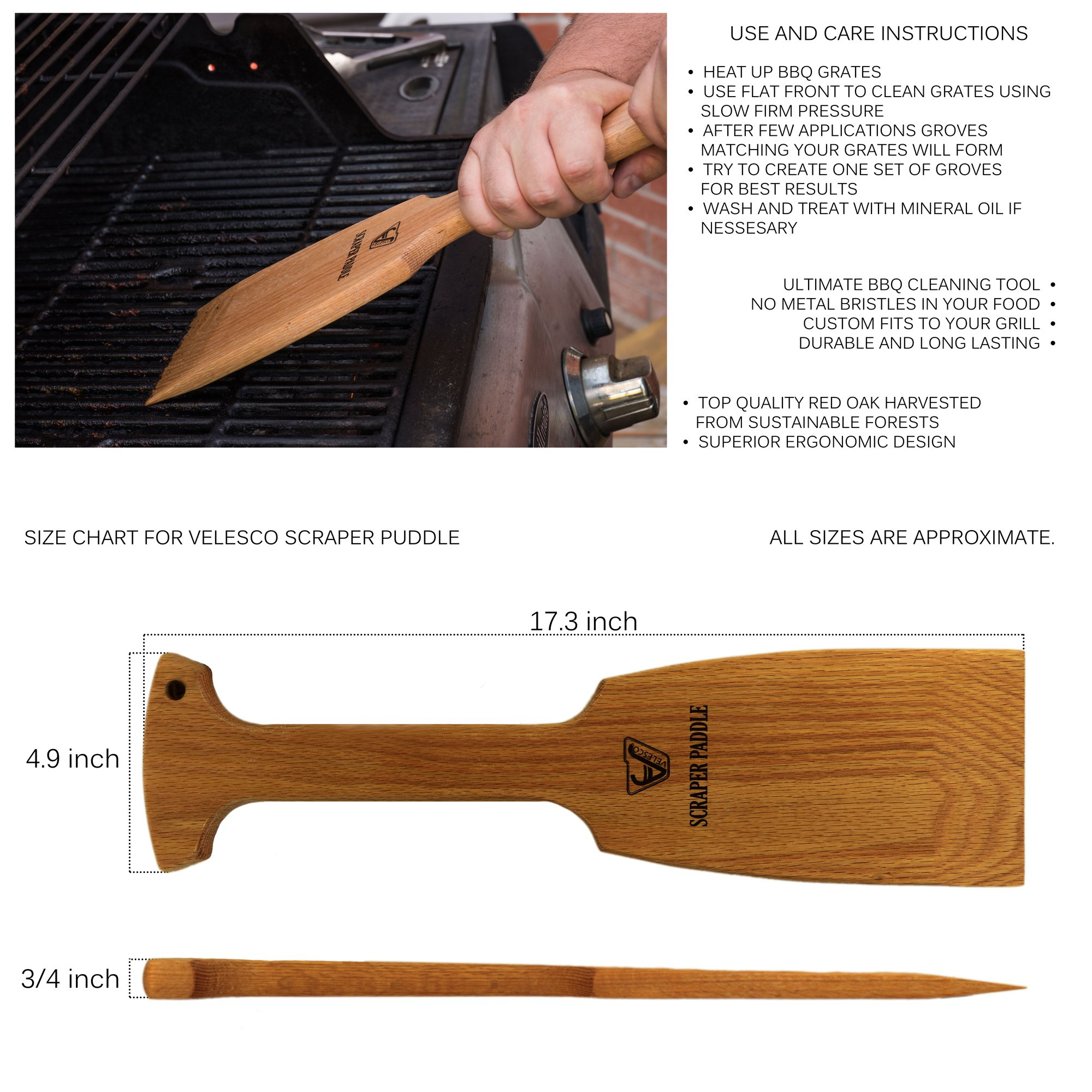 Velesco BBQ Wooden Grill Scraper Cleaner, American Red Oak Wood - Charcoal and Gas - Cleans top and between barbecue grates. Oil & clean grate. Sustainable and safe replacement for wire bristle brush by Velesco (Image #3)