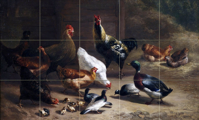 Tile Mural Farm cock chicken duck dove by Carl Jutz Kitchen Bathroom Shower Wall Backsplash Splashback 5x3 4.25'' Ceramic, Matte