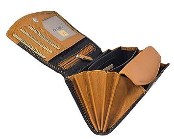 84a57284b188e Damengeldbörse aus Leder Lang mit viele Kreditkarten Fächer Frauen  Portemonnaie Echtleder Geldtasche Brieftasche Franko (378