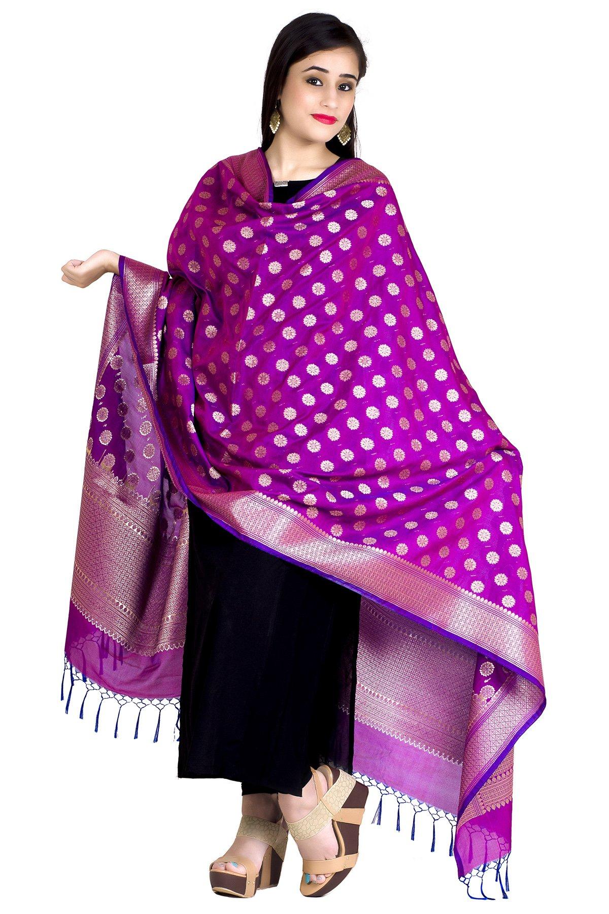 Chandrakala Women's Kataan Silk Blend Cutwork Brocade Banarasi Dupatta (Purple)