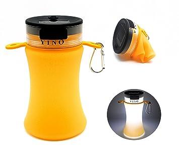 Yino portátil plegable de silicona botella de agua deportiva (550 ml), batería Solar