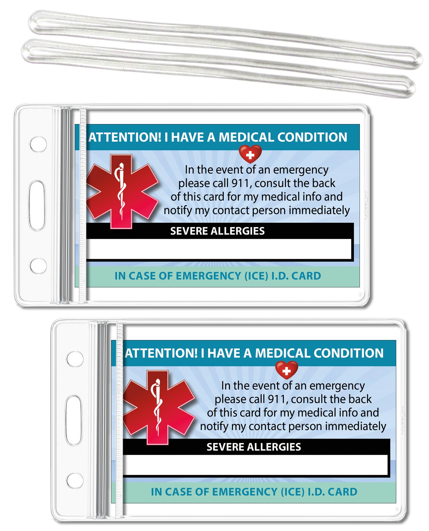 Severe Allergies Medical Condition ICE Alert in Case of Emergency I.D. Identification Wallet Card Heavyweight 32 Pt. CardStock - Our Thickest (Qty. 2 w/Sealable Pouches)