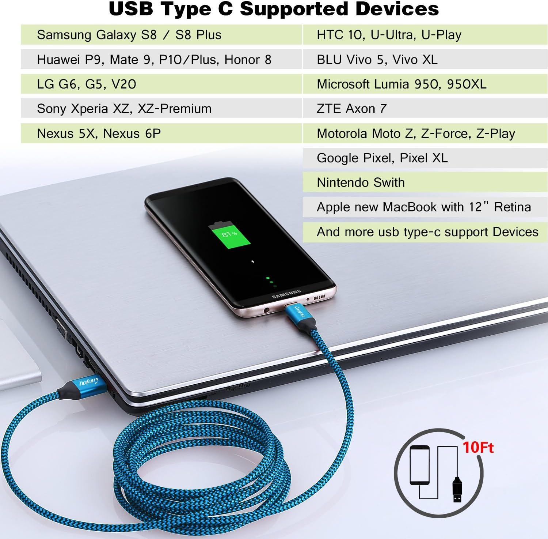 Amazon.com: Cargador tipo C, 10 ft/3 M Cable USB tipo C ...