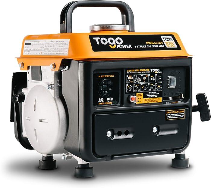 TogoPower GG1000 PowerSmart Generator 800 Rated Watts & 1000 Peak Watts for Gasoline Powered Portable Generator