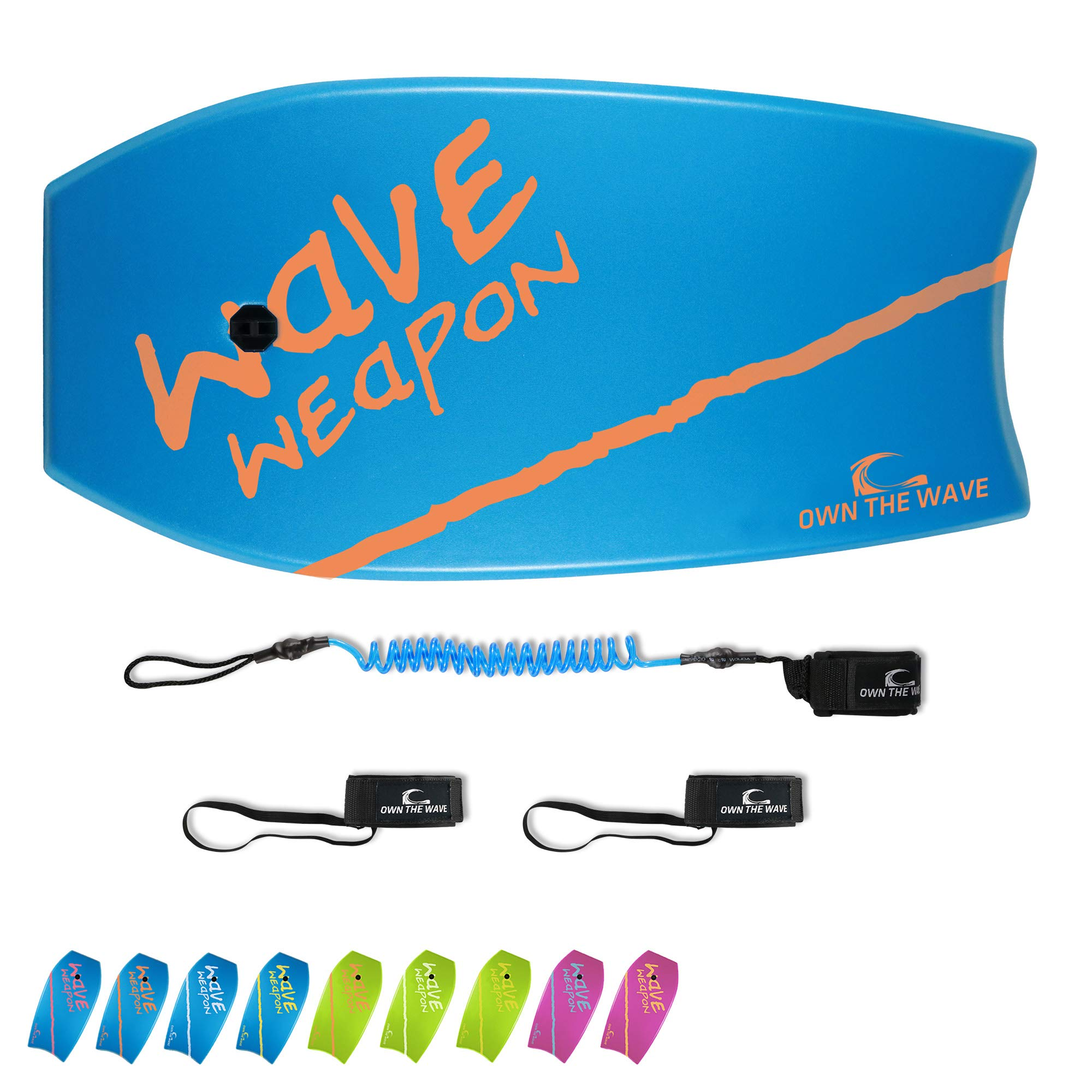 Own the Wave 41'' Body Board for Kids and Adults - HDPE Slick Bottom & EPS Core - Lightweight Body-Board for Beach and Surfing - Comes with Coiled Arm Leash and Fin Leash (Blue & Orange)