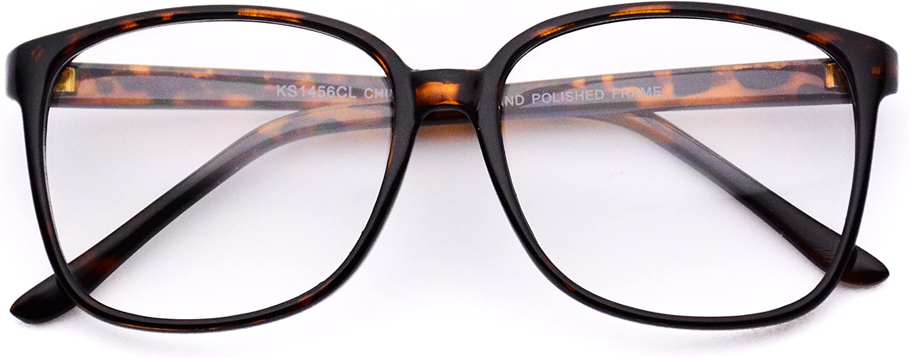 ded366f0b2 Amazon.com  Oversized Square Clear Lens Nerd Glasses Thin Frame  Clothing