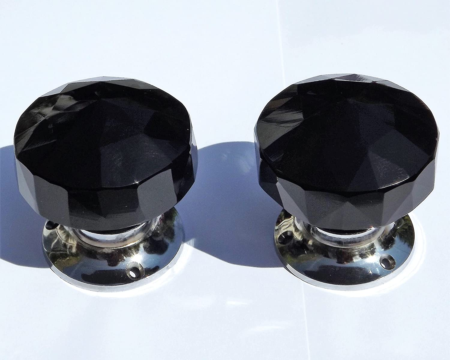 pair brass base FREE P/&P clear sparkling crystal cut glass mortice door knobs
