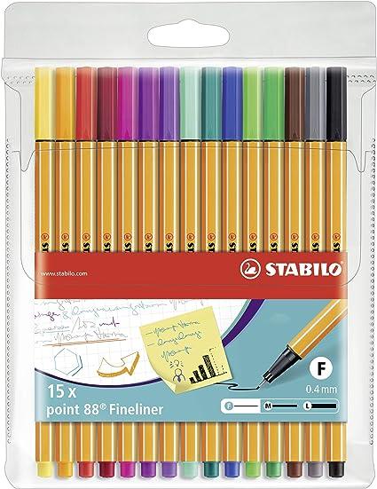 Rotulador punta fina STABILO point 88 - Estuche con 15 colores: Amazon.es: Oficina y papelería