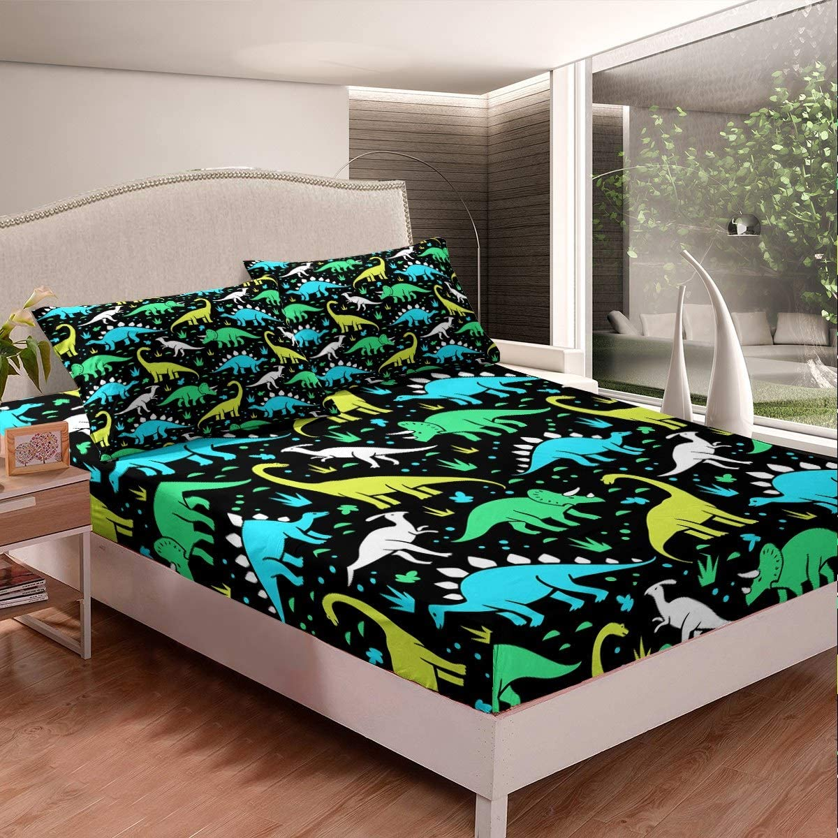 Horse Bedding Set Galloping Horses Printed Fitted Sheet for Kids Teens Adults Wild Animal Pattern Bed Sheet Set Breathable Wildlife Style Bed Cover Room Decor Twin Size