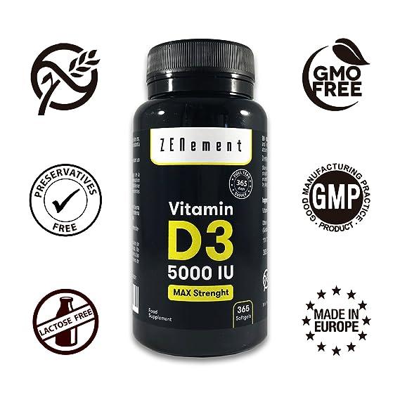 Vitamina D3 5000 UI, 365 Cápsulas, 1 Año de suministro | Sin Gluten, No-GMO, GMP, sin aditivos | de Zenement: Amazon.es: Salud y cuidado personal