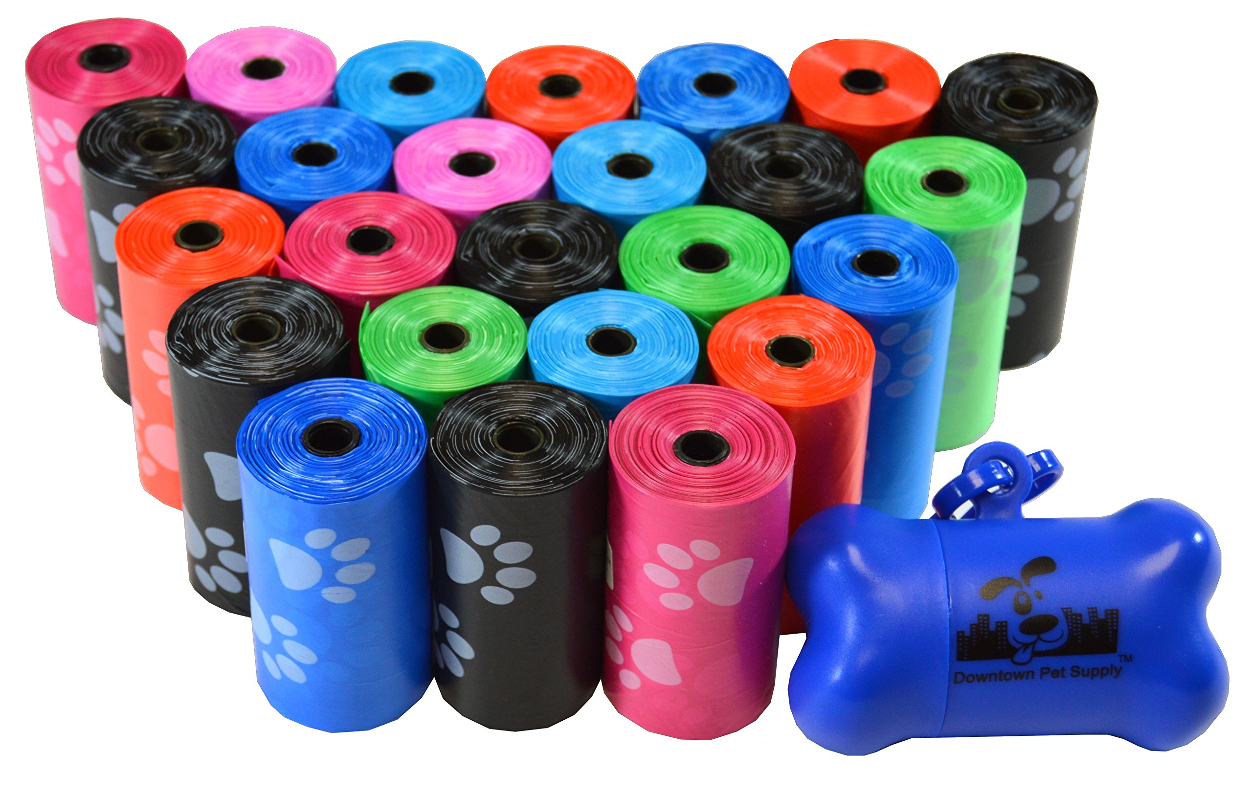 Downtown Pet Supply 500 Pet Waste Bags, Dog Waste Bags, Bulk Poop Bags on a roll, Clean up poop bag refills - (Color: Rainbow of Colors with Paw Prints) + FREE Bone Dispenser, by