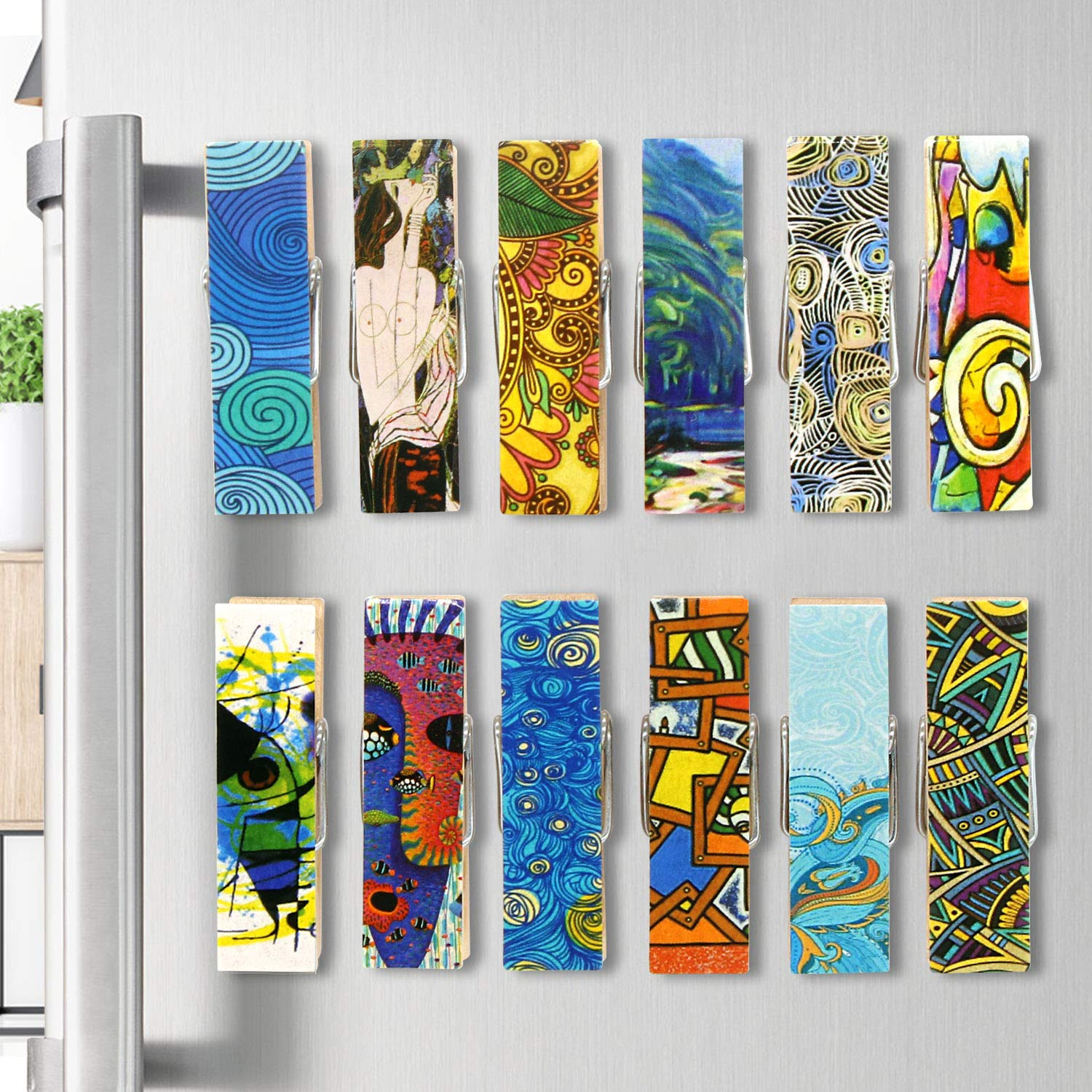 Cosylove 12pcs Magnetic Artistic Clips Decorative Refrigerator Magnet Clips Made of Wood with Beautiful Patterns–Super Fridge Magnets for House Office Use - Display Photos,Memos, Lists, Calendars