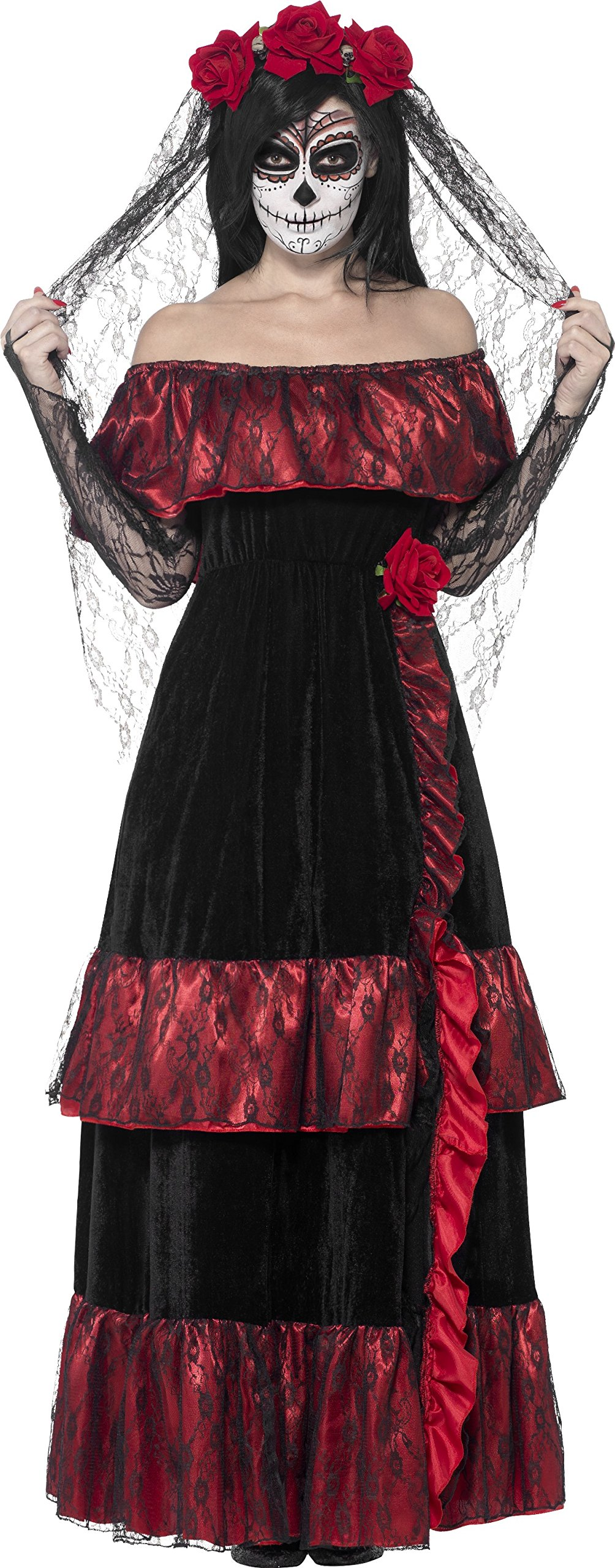 Smiffy's Women's Day The Dead Bride Costume, Dress Rose Veil, Day The Dead, Halloween, Size 10-12, 43739