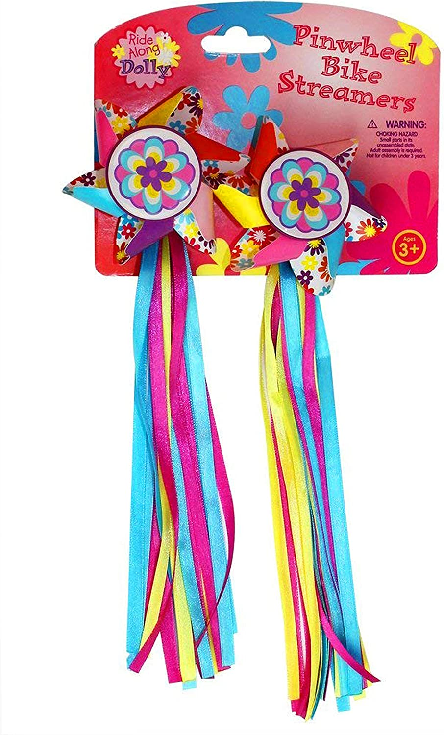 Ride Along Dolly Bike Handlebar Streamers - Kid's Bicycle Pinwheel Streamers - Easy Attachment to Cycle's Handlebars