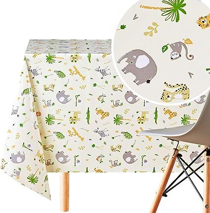 Kp Home Wipe Clean Tablecloth Reusable In Light Creame Beige Fun Kids Safari Animals Pvc Table