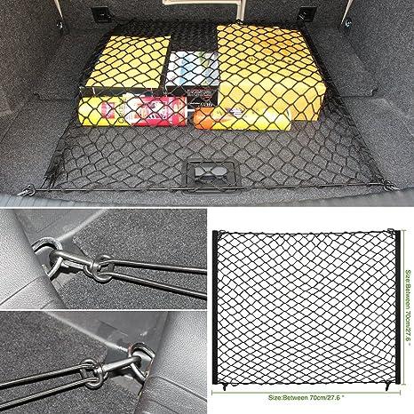 Points fixes s/écurit/é Filet de rangement afin dorganiser lespace coffre 70 x 70 cm Rangement universel /élastique Auto Cargo