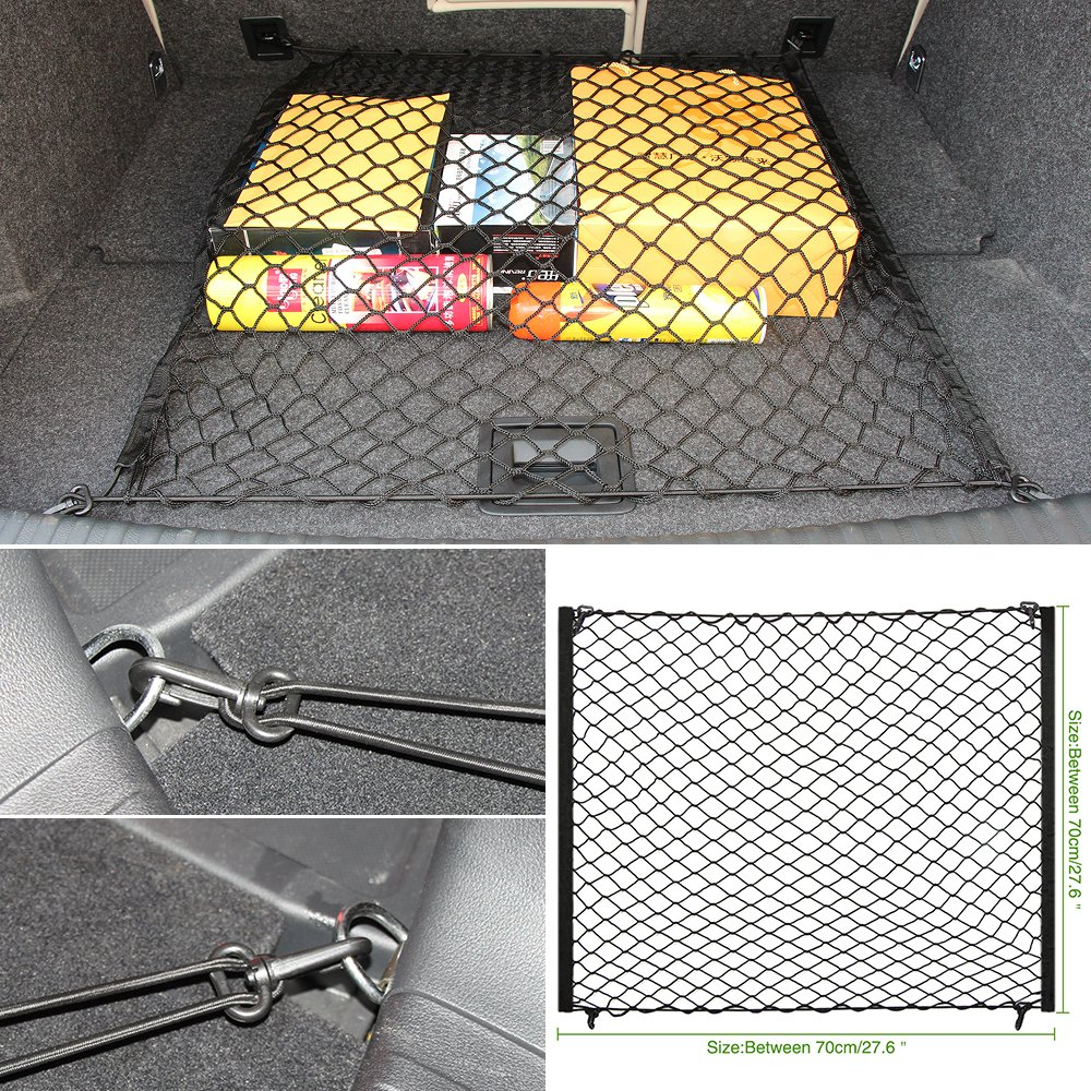 Rete portaoggetti per bagagliaio auto, universale, larga, elastica, flessibile, con elementi di , dimensioni: 70 x 70 WOQUi