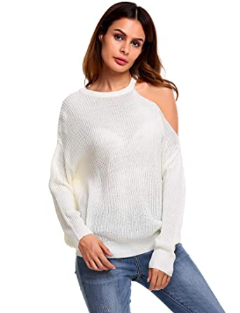 c57160600bd079 Showyoo Women s Cold Open Shoulder Autumn Winter Loose Pullover Knitted  Sweater