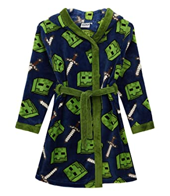 Minecraft Creeper Bathrobe /& 3D Slippers Boys//Kids Gift Set Bundle
