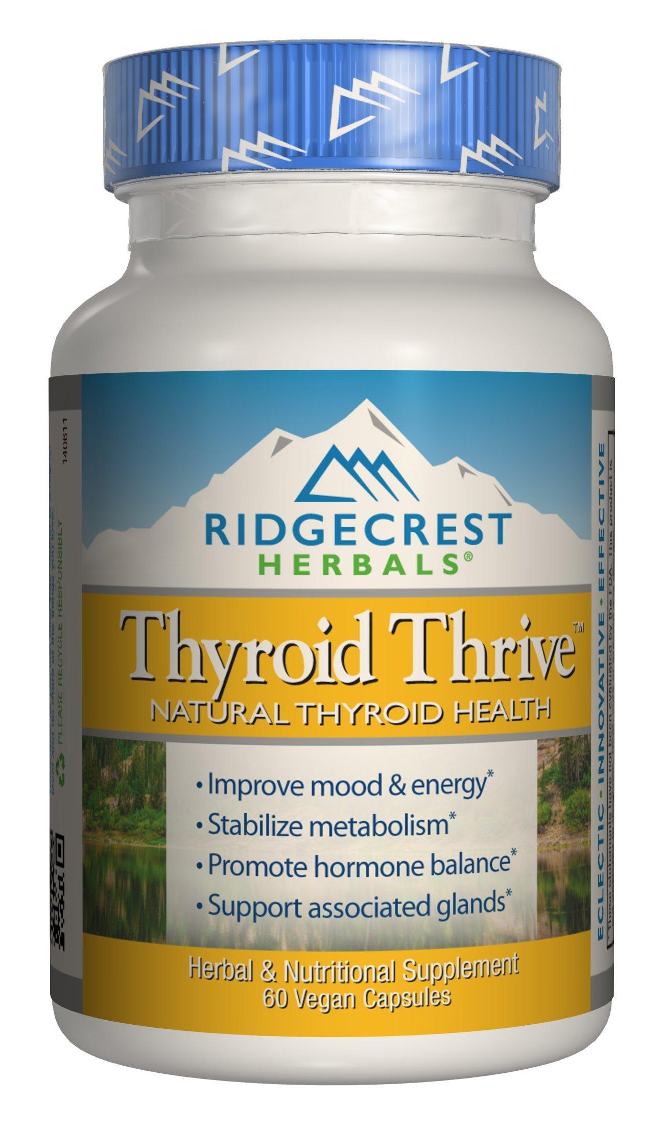 Ridgecrest Herbals Thyroid Thrive, Natural Thyroid Health, 60 Vegetarian Capsules by Ridgecrest Herbals