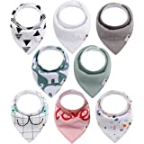 Baby Bandana Drool Bibs 8-Pack for Boys & Girls, Unisex, Baby Shower Gift, 100% Organic Cotton, Soft, Absorbent and Stylish, for Drooling and Teething Infant Or Toddler by Gift It!