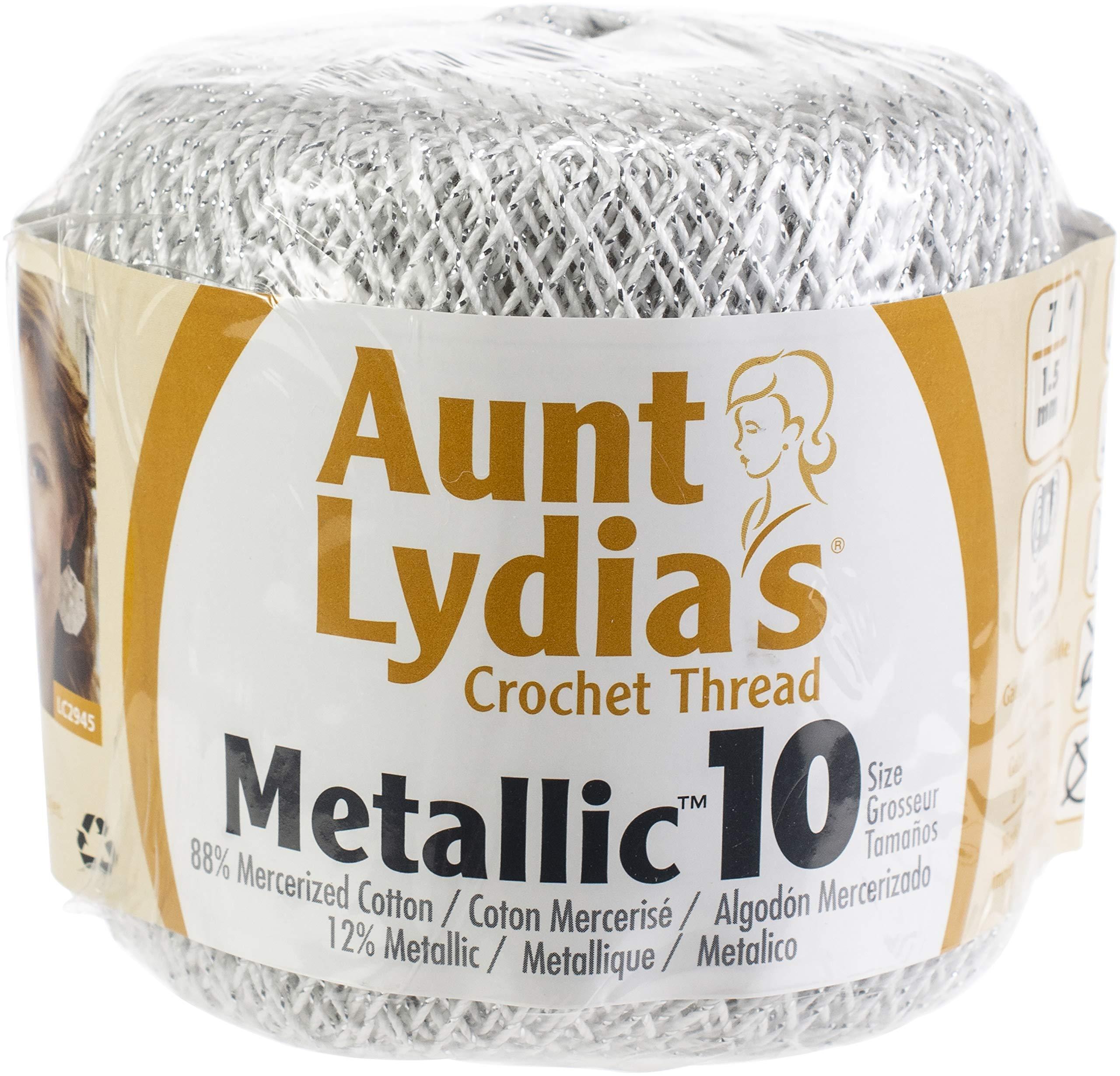 Aunt Lydia's 96891 Metallic Crochet Thread Size 10 12/Pk-White & Silver, Pack