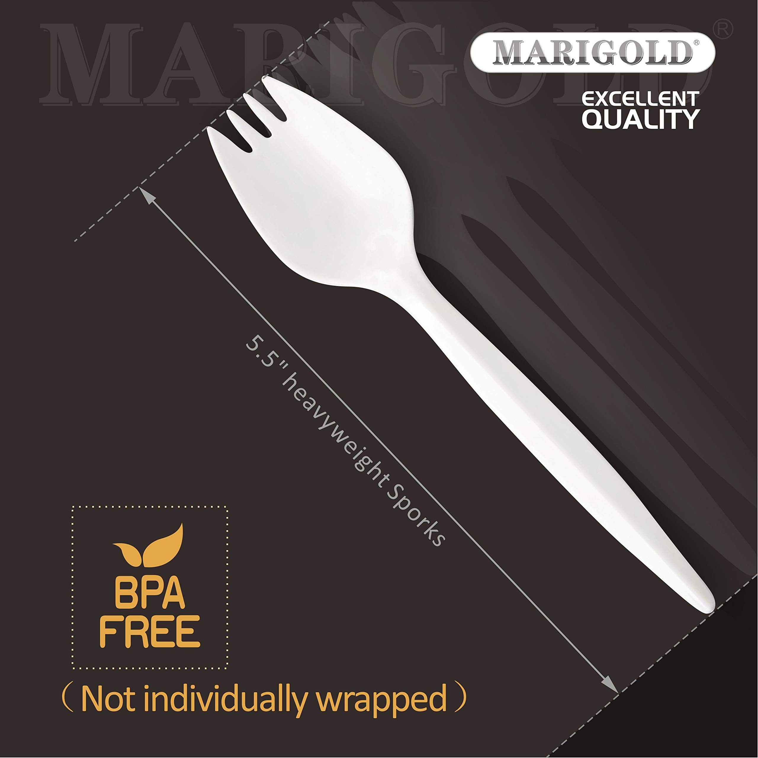 Heavy-weight Disposable Sporks 300Pk BPA-Free - MARIGOLD Recyclable cutlery, Eco-Friendly and Kid-Safe Utensils, Great for School Lunch, Picnics or Restaurant and Party Supply Spoons and Forks