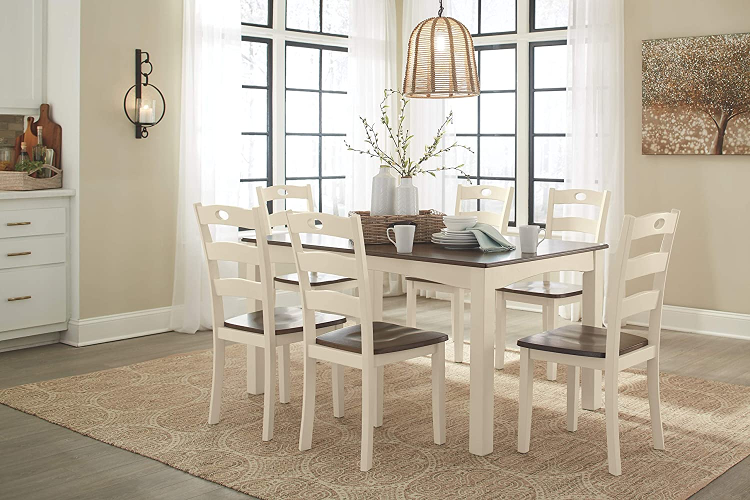 - Brown Bennox Dining Room Table and Chairs with Bench Ashley Furniture Signature Design Set of 6