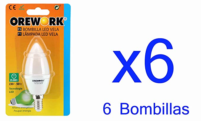 6 x BOMBILLA LED VELA E14 OREWORK 6 W LUZ FRIA 480 LM