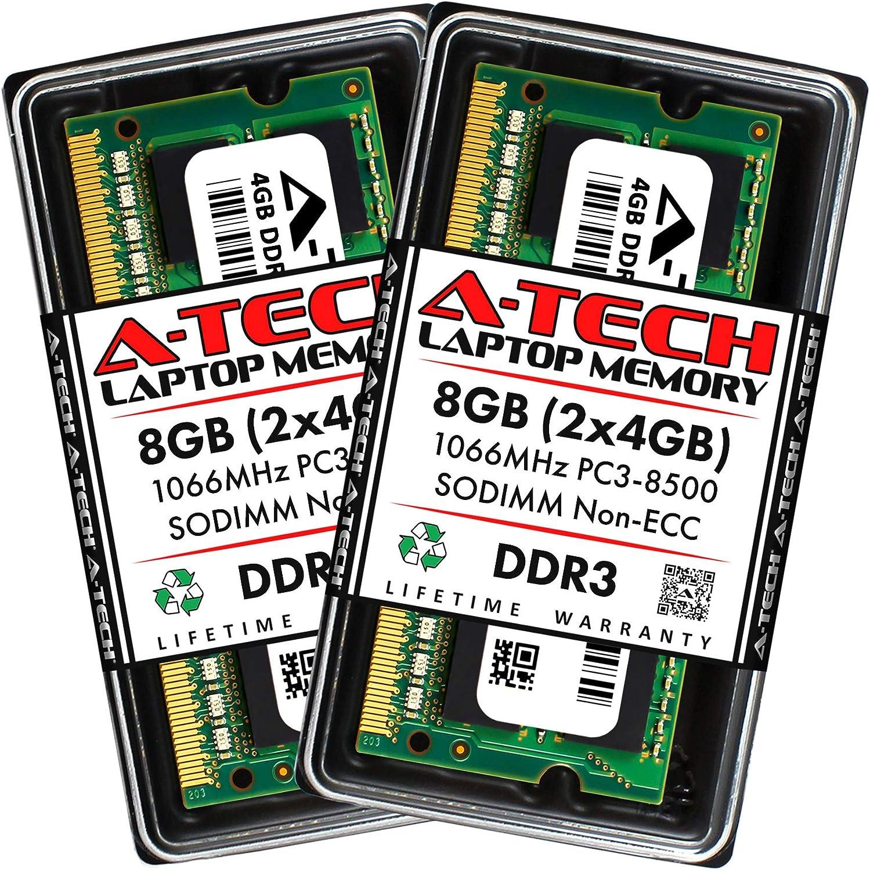 A-Tech 8GB (2 x 4GB) DDR3 1066MHz PC3-8500 Laptop RAM SODIMM Kit | Non-ECC Unbuffered 204-Pin Memory Upgrade Modules