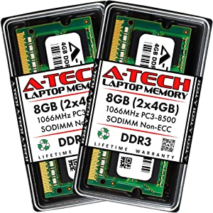 A-Tech 8GB (2 x 4GB) DDR3 1066MHz PC3-8500 Laptop RAM SODIMM Kit | Non-ECC Unbuffered 204-Pin Memory Upgrade Modules