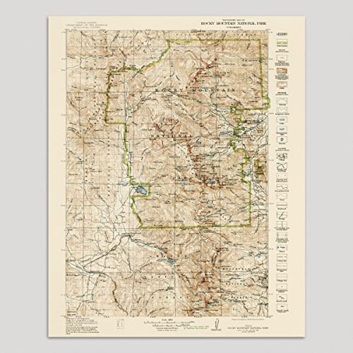 Amazon.com: Old Rocky Mountain National Park Map Art Print 1919 ...