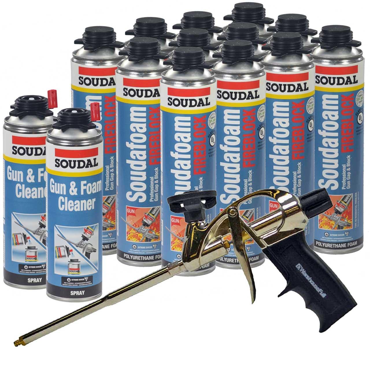Soudal PRO Fireblock Foam Sealant 24 oz can (12 Cans), Professional Foam Gun, 2 cans of gun cleaner