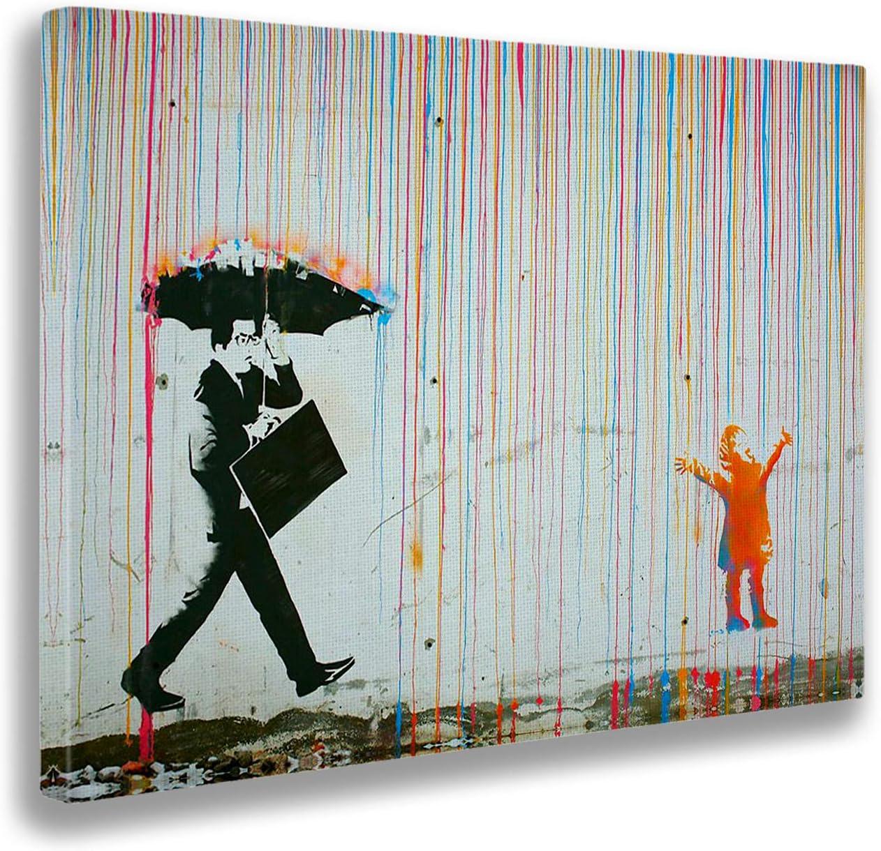 Giallobus - Cuadro - Impresion EN Lienzo - Banksy - Lluvia DE Colores - 100 x 140 CM