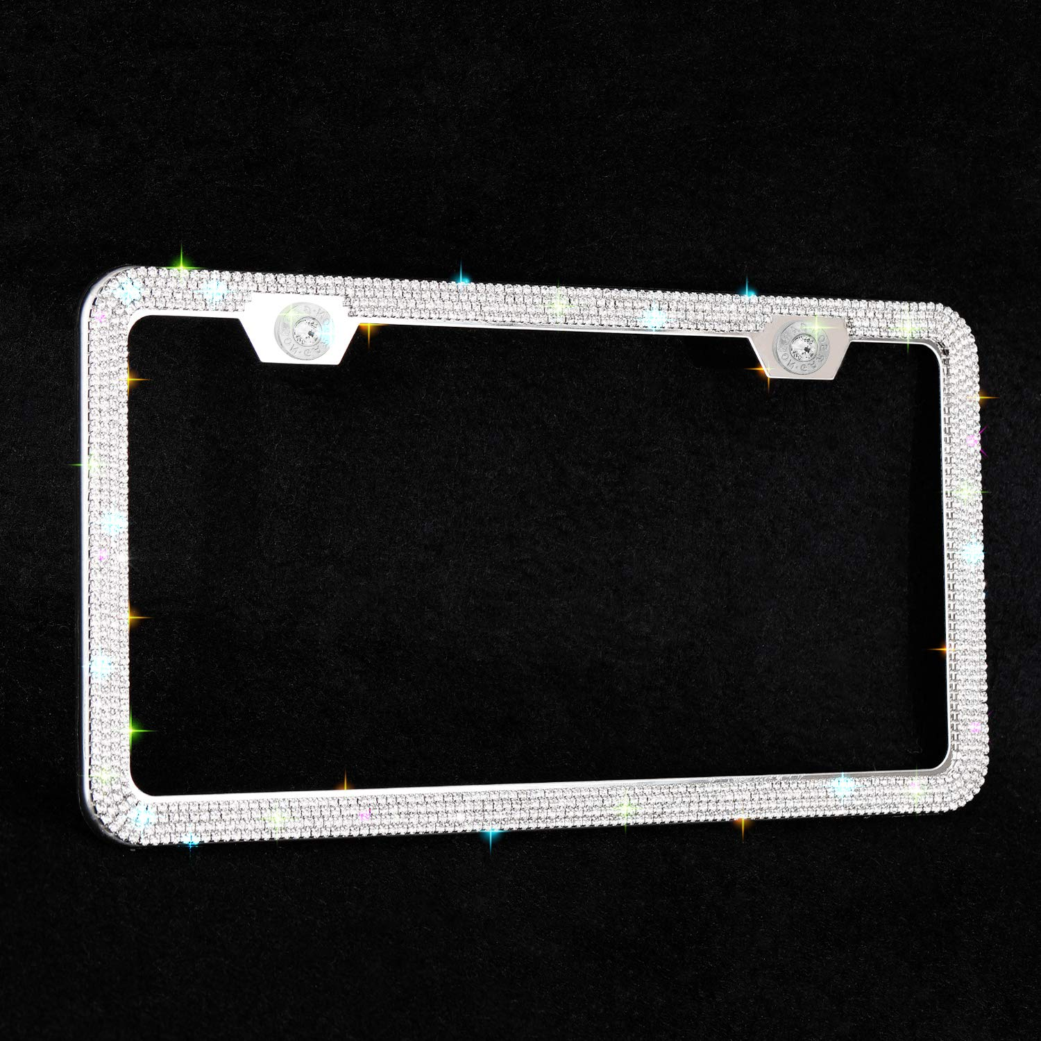 Luxury Handmade Waterproof Glitter Rhinestone Premium Stainless Steel Licence Plate Front Back License Indeedbuy Sparkle Crystal Bling Car Thin Border License Plate Frame