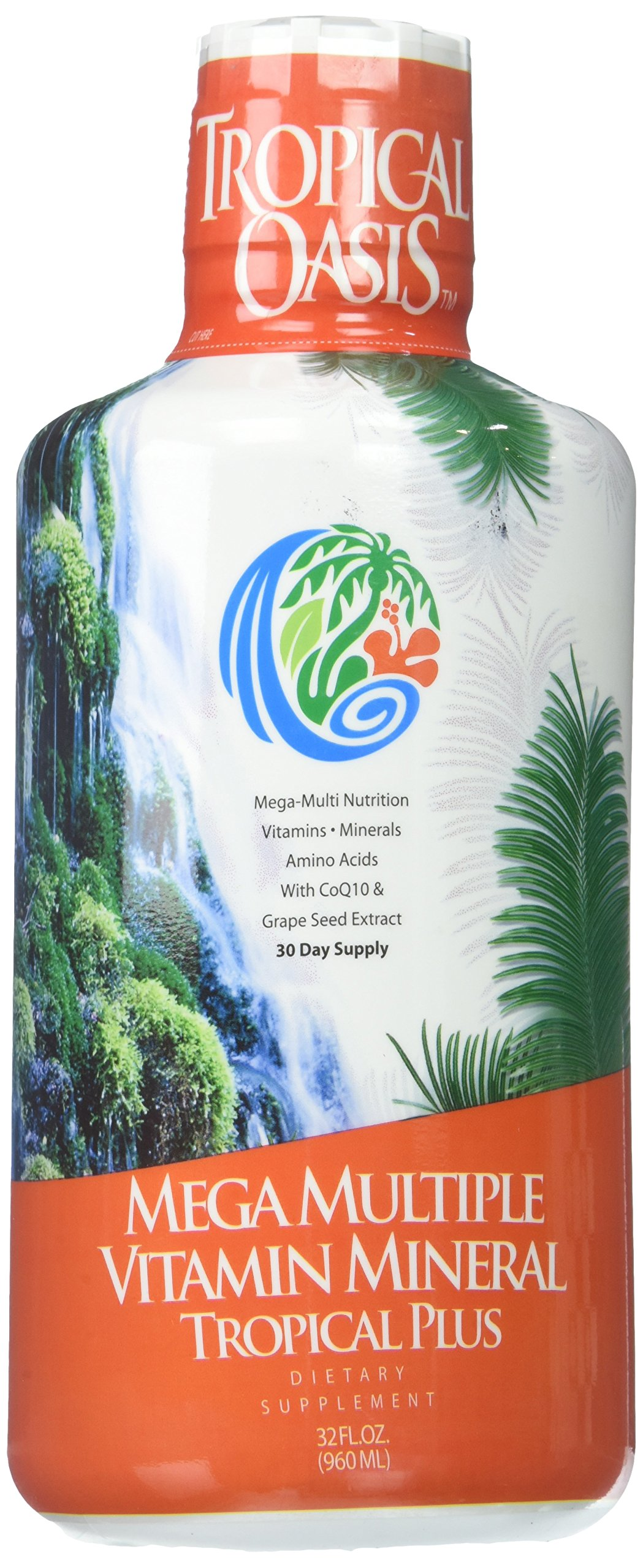 Tropical Oasis Mega Plus - Liquid Multivitamin and Mineral Supplement – Includes 85 Vitamins & Minerals, 20 Amino Acids + CoQ10, Grape Seed Extract & Organic Aloe Vera -- 32oz, 32 servings