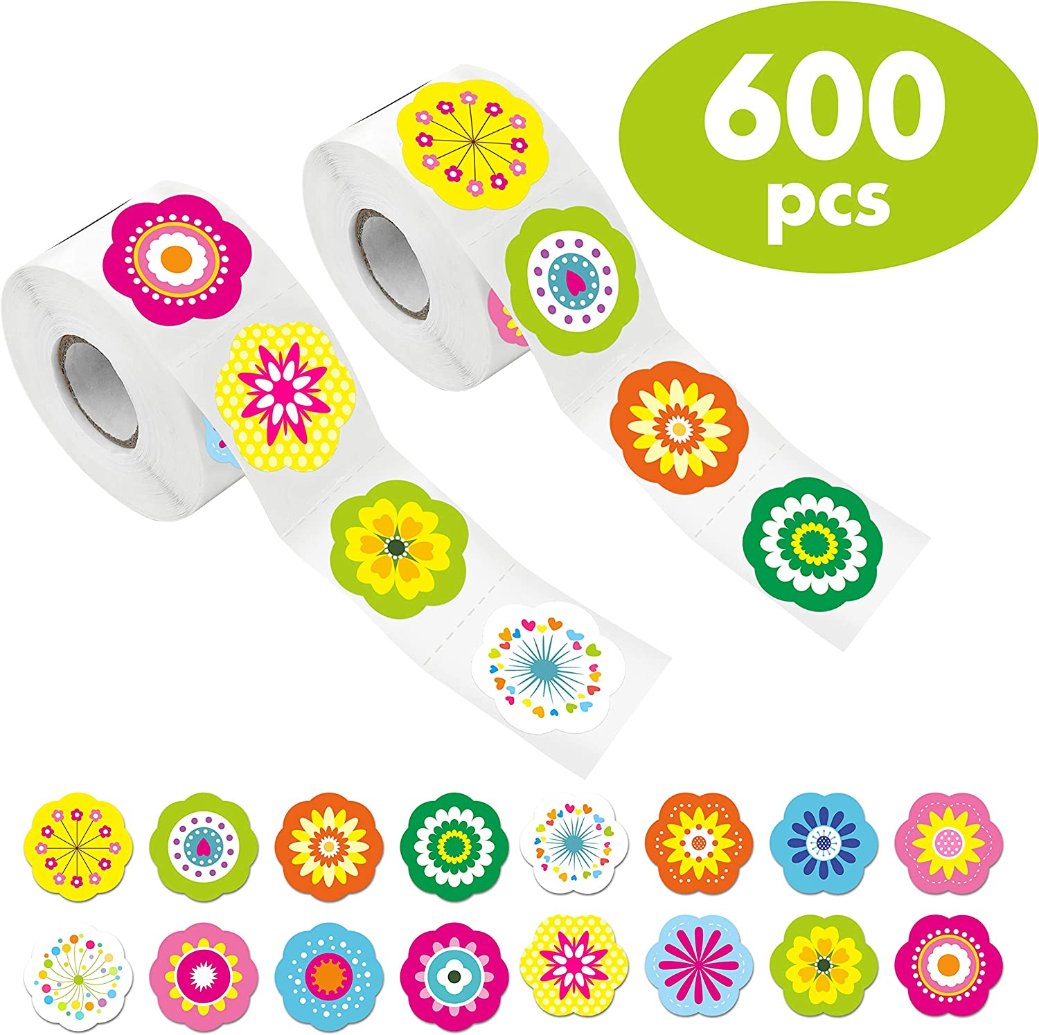 600 PCS Adorable Flower Stickers in 16 Designs with Perforated Line Expanded Version Each Measures 1.5 in Diameter
