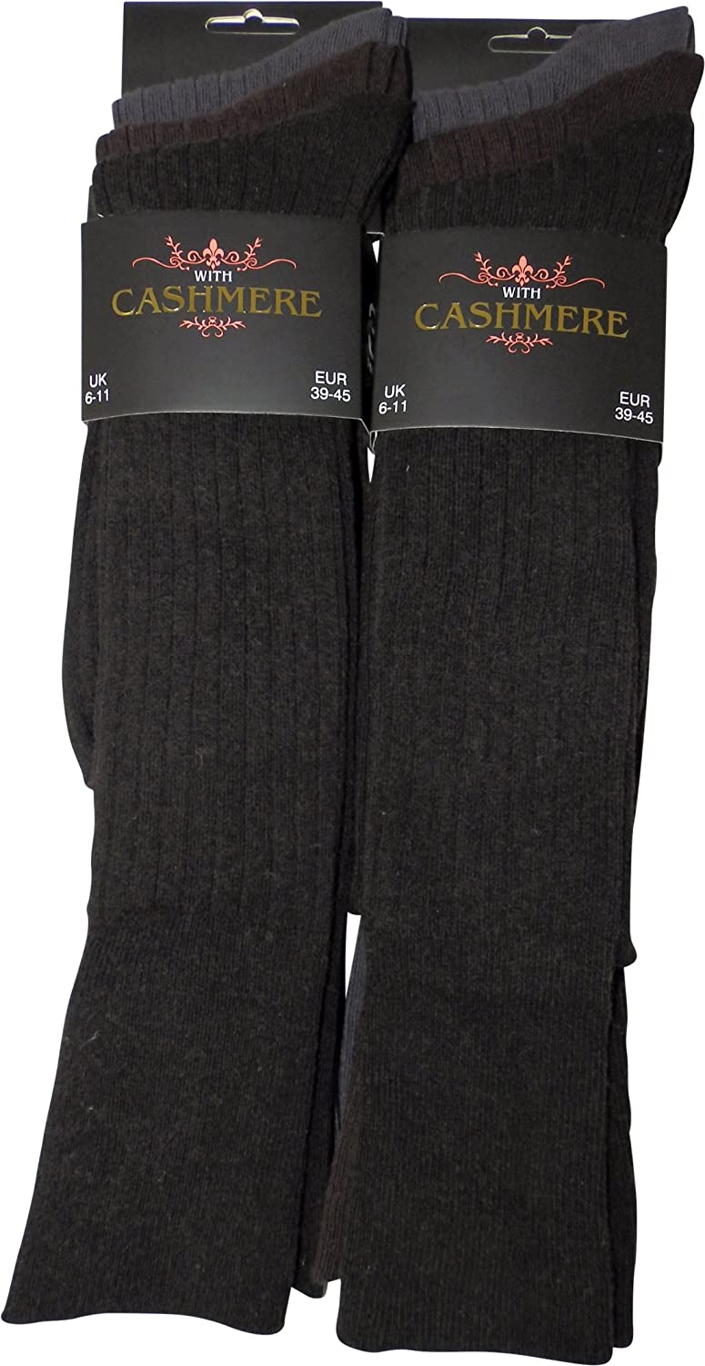 6 pairs Super Luxurious Mens Long, Knee High Cashmere blend Wool Winter Socks (070-L-Cash-D-Asst)
