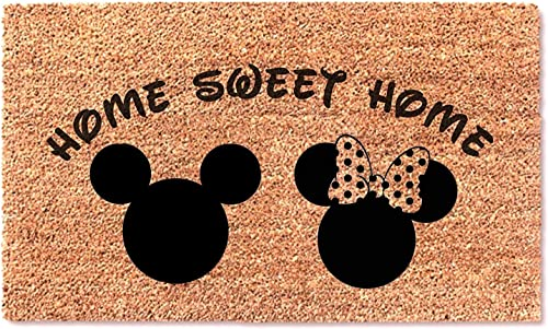 Mickey Minnie Mouse Home Sweet Home Doormat Welcome Fun Funny Entry Front Decor Door Mat Wedding Anniversary Birthday Gift